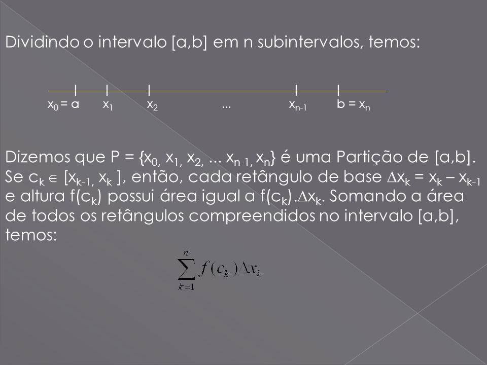 Dividindo o intervalo [a,b] em n subintervalos, temos: